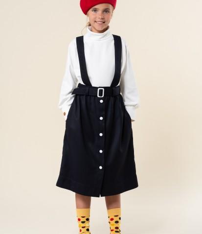 Школьная синяя юбка Луиза на подтяжках