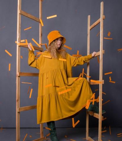 Платье штапель Twill в горчичном цвете