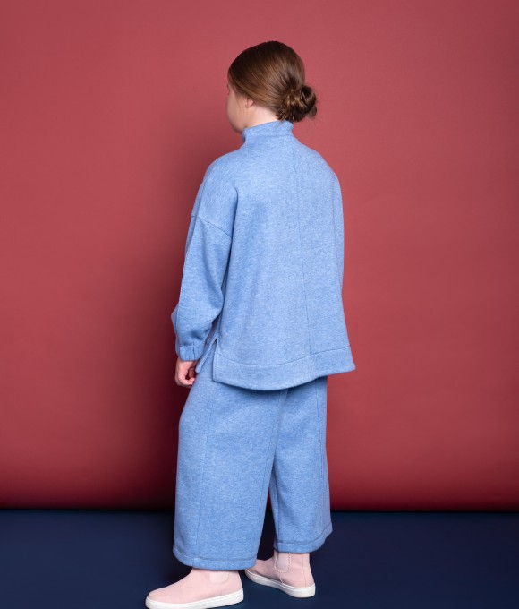 Кофта из ангоры, цвет синий меланж