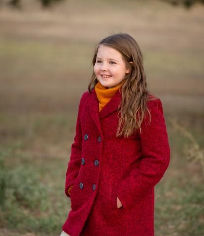 Пальто из буклированной шерсти красное