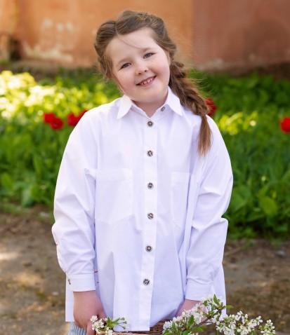 Рубашка со складками на спине в белом цвете