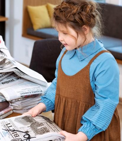 Нарядная рубашка со складками на рукавах в бирюзовом цвете