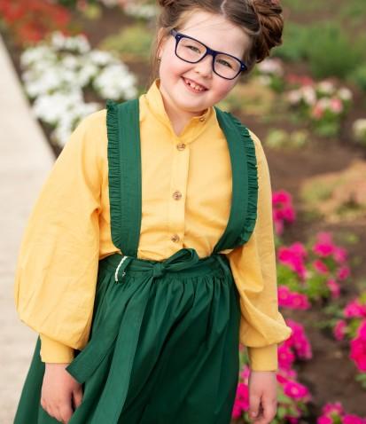 Зелёная юбка Моника на подтяжках