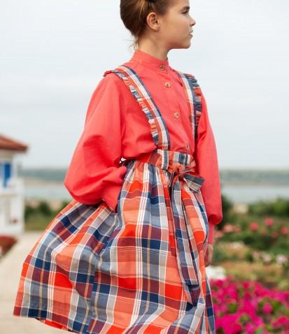 Клетчатая юбка Моника на подтяжках