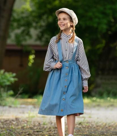 Джинсовая юбка с пуговицами на подтяжках в голубом цвете